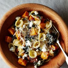 Orecchiette with Roasted Butternut Squash, Kale, and Caramelized Red Onion