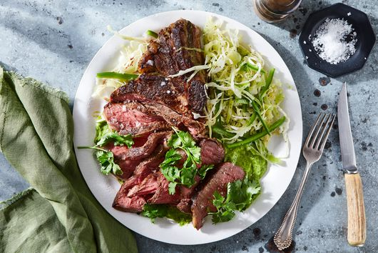 Pan-Seared Rib Eye With Jalapeño Coleslaw