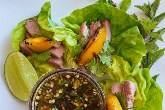 Marinated Grilled Peaches with Sliced Pork
