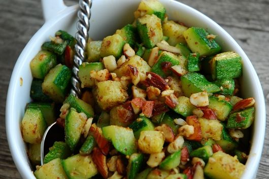 Sauteed Zucchini with Panch Pharon and Almonds