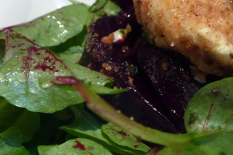Honey Roasted Beets with Mint Gremolata and Baked Honey Chevre Nuggets