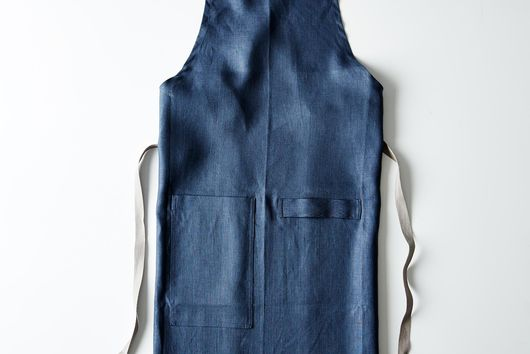 Slate-Blue Cross-Back Kitchen Apron with Slate Ties