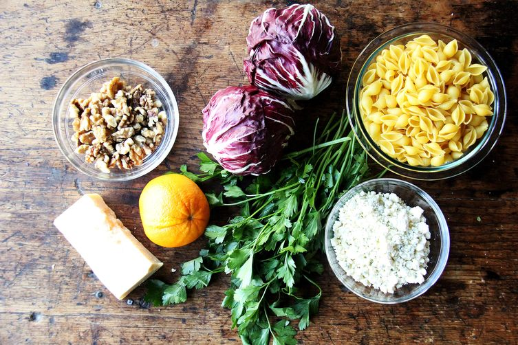 Pasta with Gorgonzola, Radicchio, Walnuts, and Orange