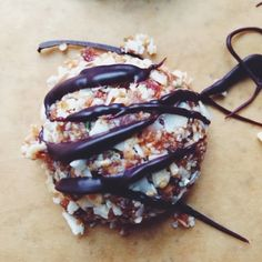 Vegan No-Bake Toasted Coconut Macaroons with Chocolate Drizzle.