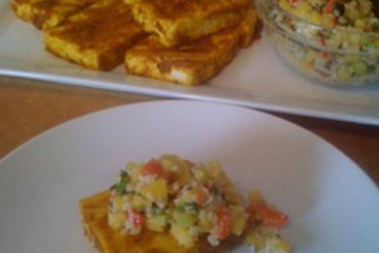Grilled Indonesian Style Tofu with Peanut Mango Salsa