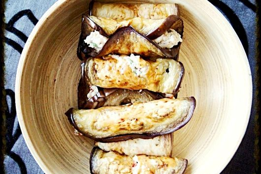 Grilled Aubergine rolles with Mint & Chilli