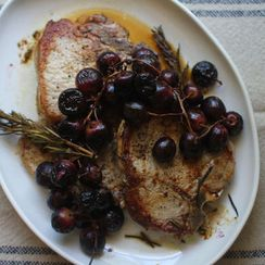 Pork Chops with Rosemary Roasted Grapes