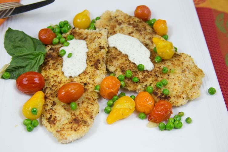 Easy Chicken Parmesan with Sauteed Tomatoes and Peas