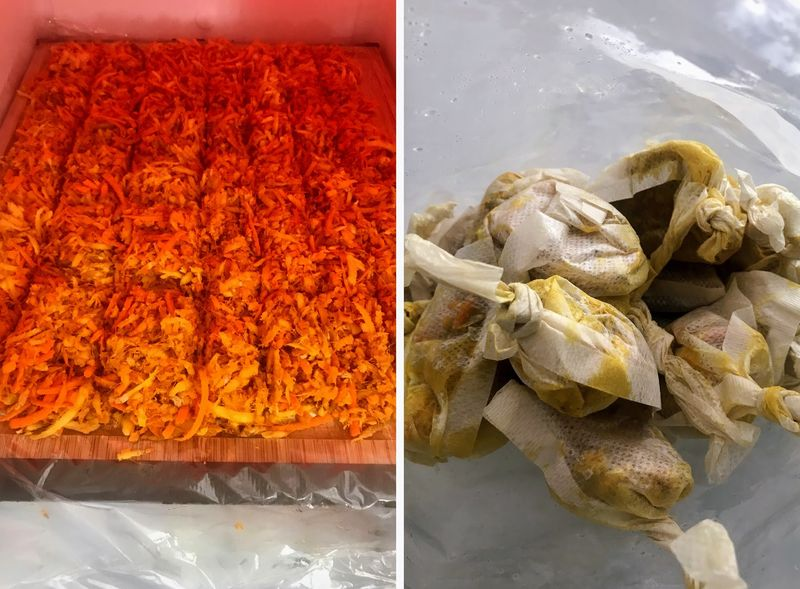 Left: Grated ginger & turmeric, before the deep freeze. / Right: Sachets ready for service.