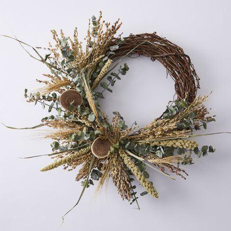 Eucalyptus and Grain Half Branch Wreath