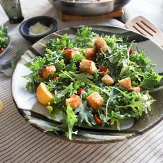 Simple Kale Salad with Caesar Croutons and Roasted Tomatoes