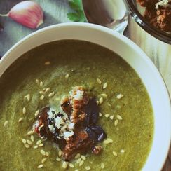 Green Soup with Garlic Basil Croutons