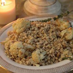 Roasted Cauliflower and Barley Salad with Lemon Caesar Dressing