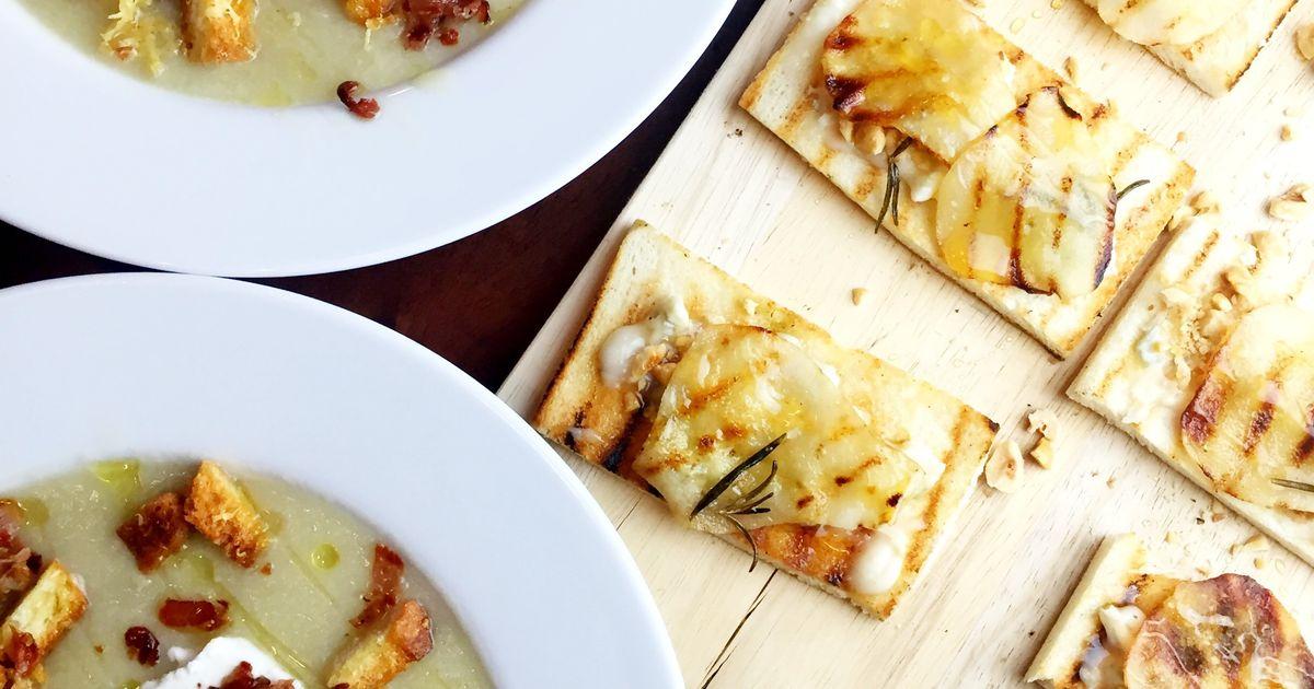 ... pear, rosemary, crostini, onion, Parmesan cheese, goat ricotta, bread