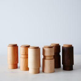 Turned Wooden Spice Jars (Set of 2)