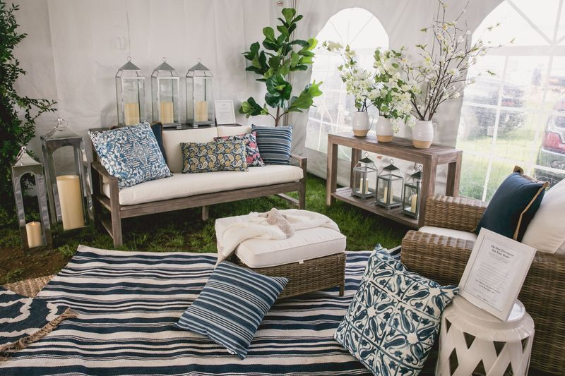 Our vintage-inspired Pottery Barn Lounge at the Brimfield Antique Show