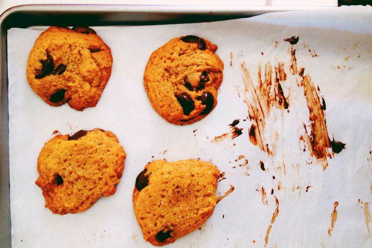 Whole Wheat Dark Chocolate Chip Coconut Oil Cookies