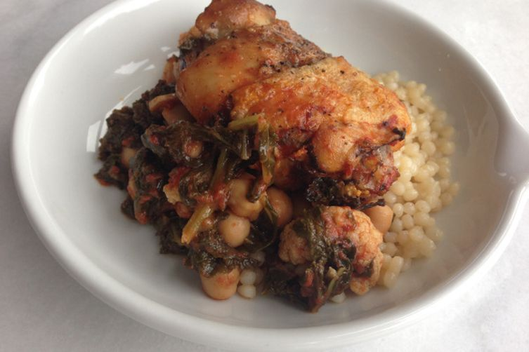Braised Chicken with Kale, Chickpeas, Cauliflower and Tomatoes