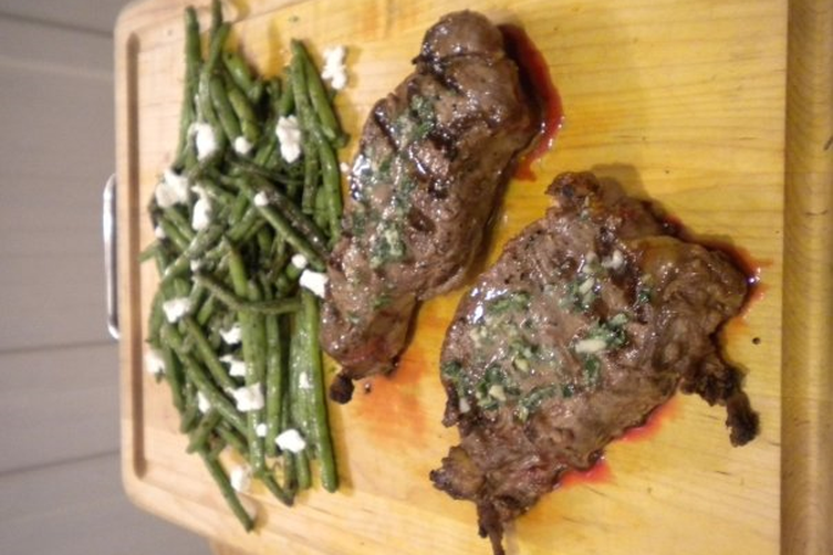 Grilled Bison Ribeye with Browned Herb Compound Butter
