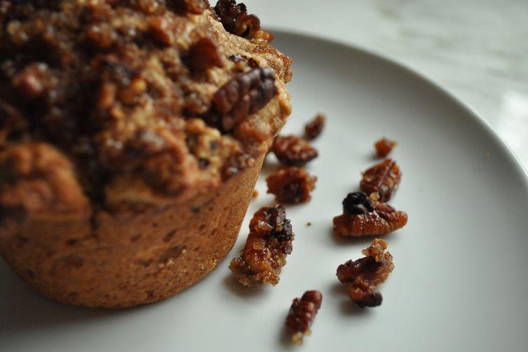 Crunchy Banana Pecan (and Dark Chocolate) Muffins