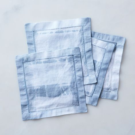 Grey Shibori-Dyed Cocktail Napkins (Set of 4)
