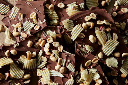 Milk Chocolate Bark with Peanuts & Potato Chips