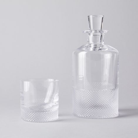 Hand-Etched Diamond Cut Crystal Whiskey Glass & Decanter