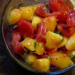 Summer Spectacular Heirloom Tomato and Peach Bruschetta