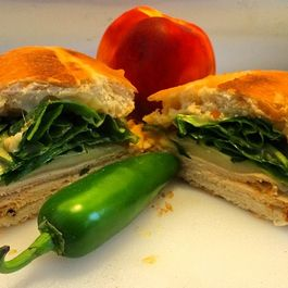 Oven Baked Turkey Melt with Spinach and Peach/Jalapeño Caesar