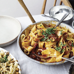 Ottolenghi's Pappardelle with Rose Harissa, Black Olives & Capers
