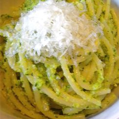 Broccoli Cilantro Pesto with Jamon Serrano and Spagetti