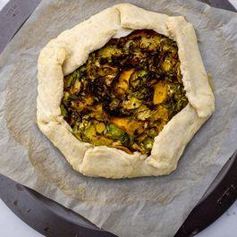 Gluten-free vegan savoury brussels sprout and pumpkin galette