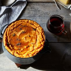 Savory Pear, Sweet Potato, and Maple Syrup Soufflé