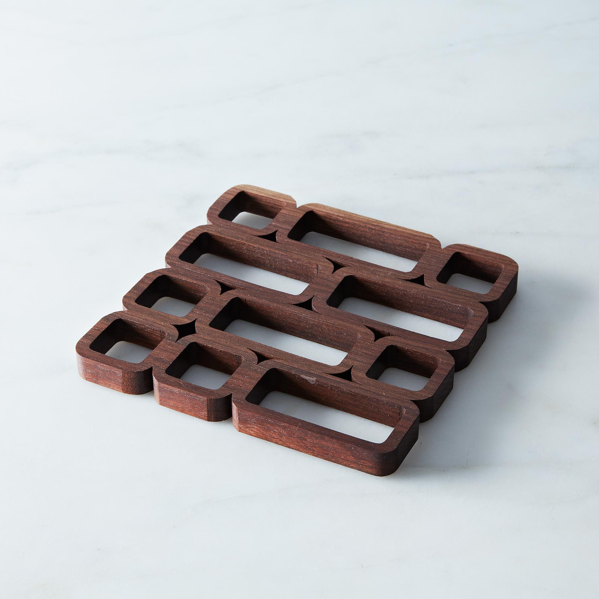 midcentury modern block trivet on food -