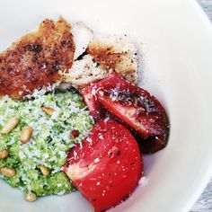 Olive Oil-Fried Chicken with Pesto Quinoa and Heirloom Tomatoes