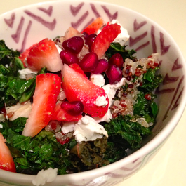 Quinoa Salad With Strawberries, Goat Cheese & Crispy Kale