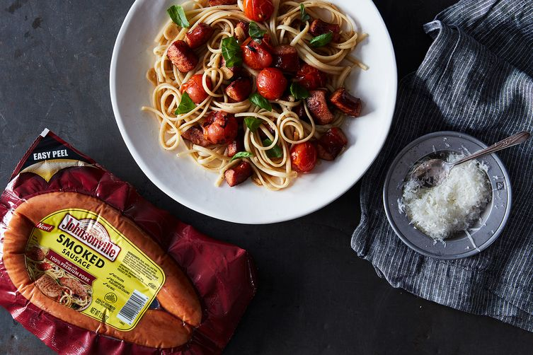 Linguine with Blistered Sungold Tomatoes, Smoked Sausage, and Basil