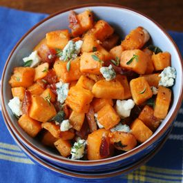 Butternut Squash with Bacon and Blue Cheese