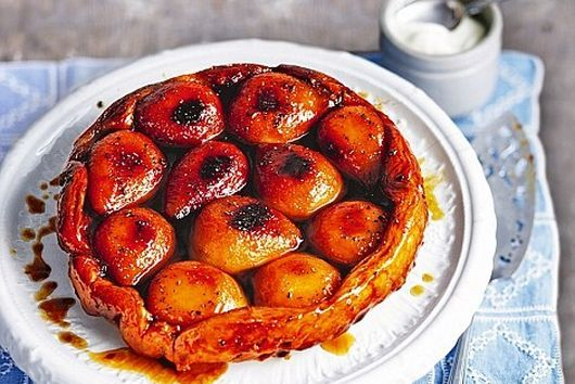 Brown Butter Pear and Scotch Cherry Tarte Tatin with Vanilla Creme Fraiche