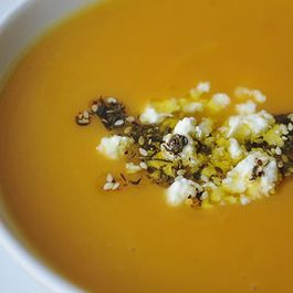 Sweet Potato Soup with Feta and Zaatar Oil