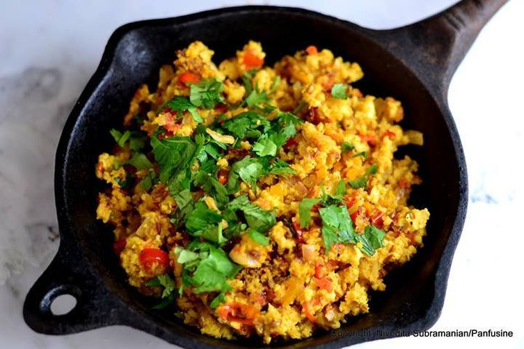 Paneer Bhurji with Tawa Toast (Scrambled Paneer with Buttered Toast)