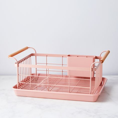 Blush Wood-Handled Dish Rack