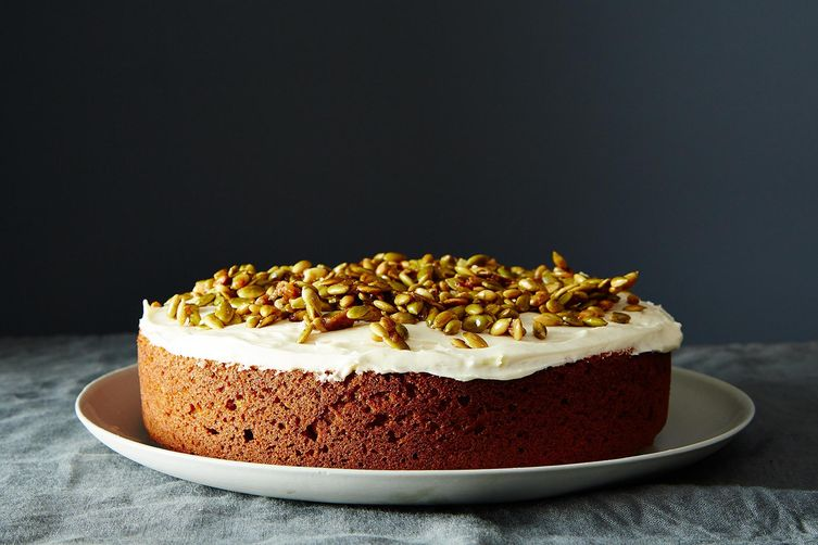 Pumpkin Cake with Cream Cheese Icing and Caramelized Pumpkin Seeds ...