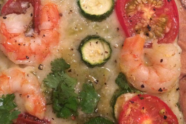 Zucchini, Shrimp & Heirloom Tomato Pizza with Herb Pesto