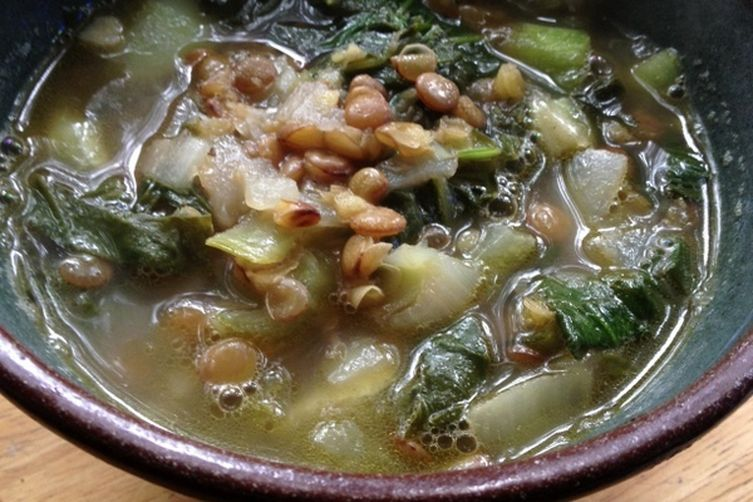 Savory Lentil and Bok Choi Soup