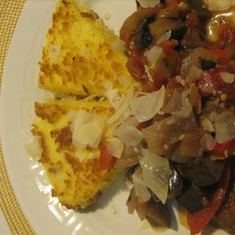 Cheesy fried Polenta Wedges with Spicy Eggplant Stew