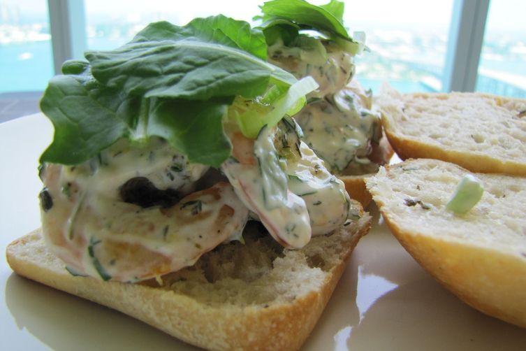 Herbed Shrimp Salad on Focaccia