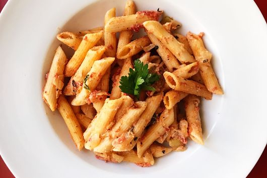 Two Pot Penne with Chicken Sausage