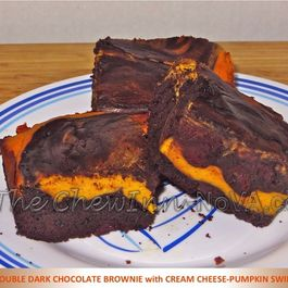 Double Dark Chocolate Brownie with Cream Cheese Pumpkin Swirl