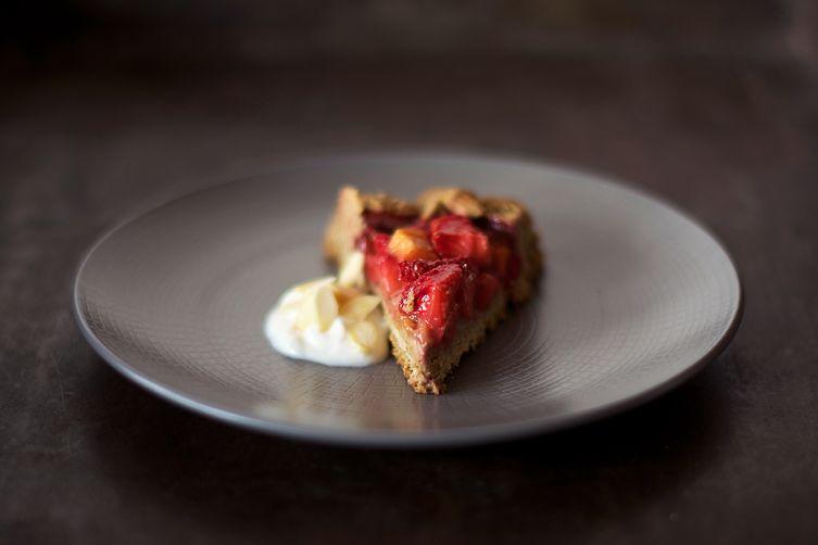 Strawberries + mango chamomile galette